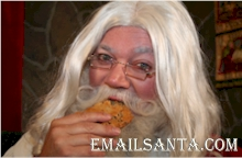 Santa eating cookie with hiccups