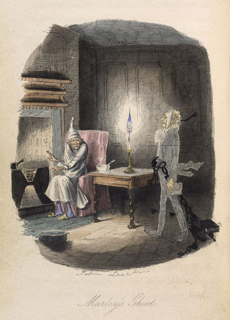 The Ghost of Scrooge's business partner, Marley, in A Christmas Carol