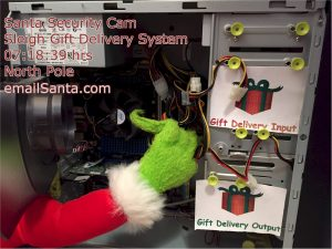 Someone hacking Santa's sleigh Gift Delivery computer