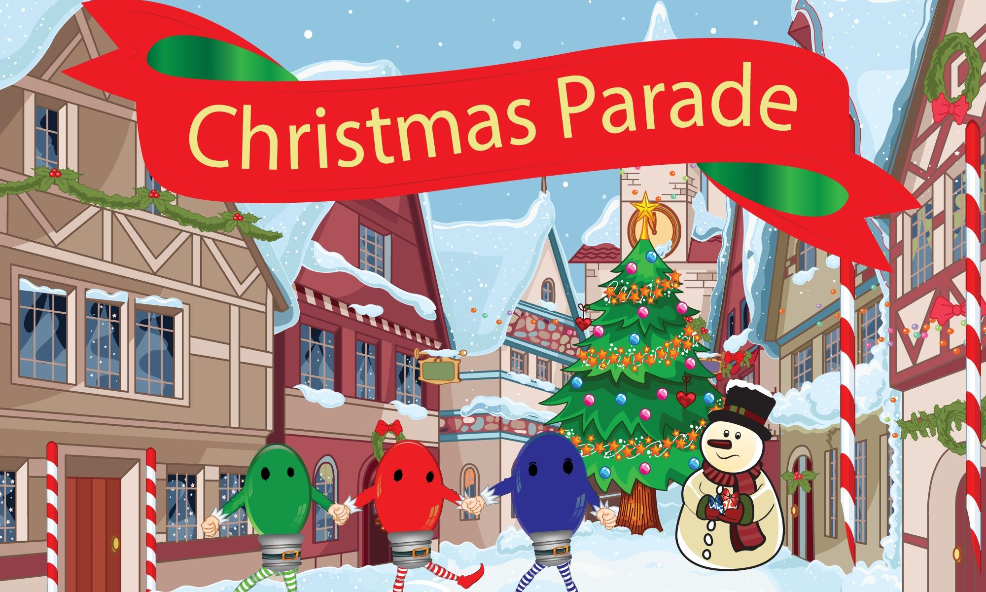 Christmas Decorations parade - as drawn by Mouse the Littlest Elf
