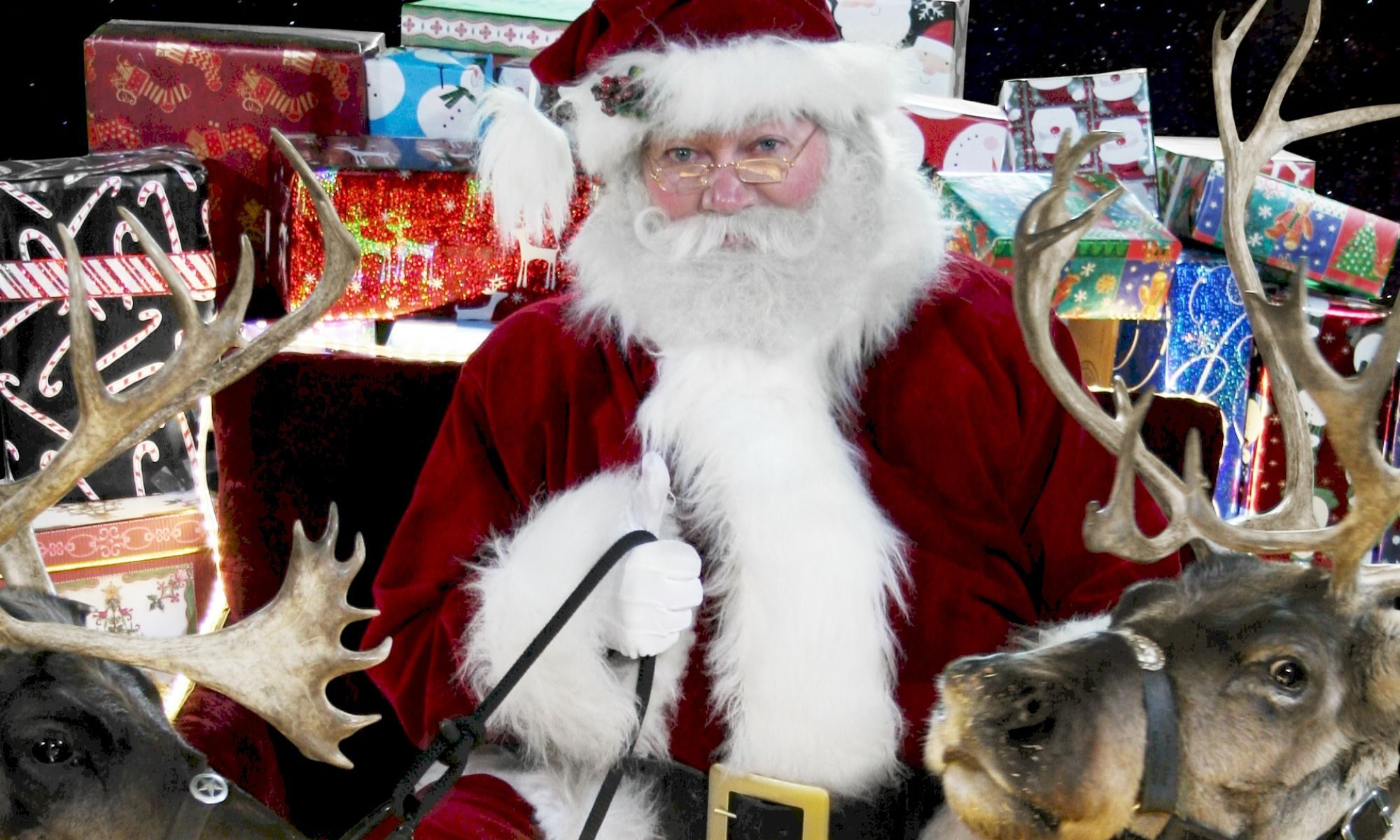Santa and reindeer header graphic