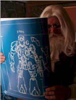 photo of Santa with Robo-elf blueprint